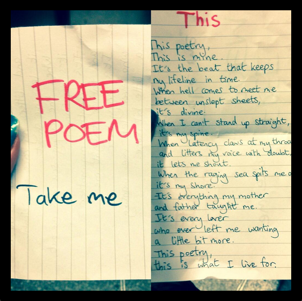 I stuck some poems to the wall. @MissLesleyRose took one, and snapped and tweeted this pic.